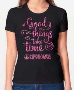 Impresionarte-Xativa-Distribuidores-Herbalife-Nutricion-Imprenta-Camiseta-Shirt-Negra-Pinky-Pink-Rosa-Glitter-Purpurina-Hbl-Frase-Cita-Good-Things-Brillo-Brilli-Time
