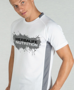 Impresionarte-Distribuidores-Herbalife-Xativa-Asesores-Nutricion-Herbalife-Camiseta-Sport-Tecnica-Gris-Blanca-Hombre-Transpirable-Manga-Corta